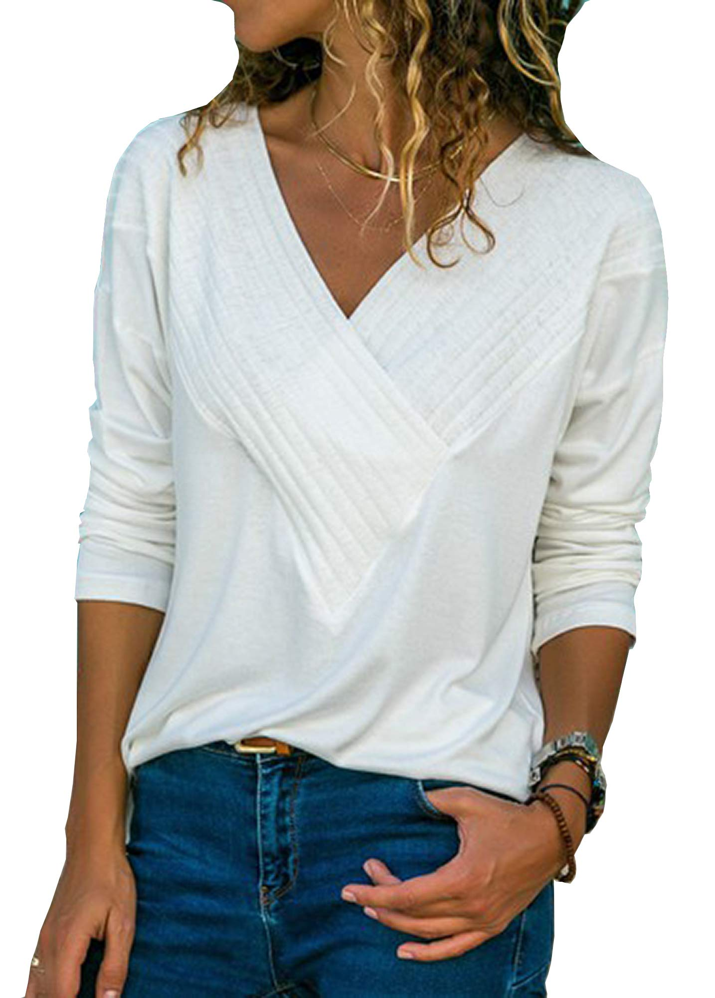 Women's Tops Casual Wrap Front V Neck Long Sleeve Fit Basic Tunic Blouse Shirts,White L
