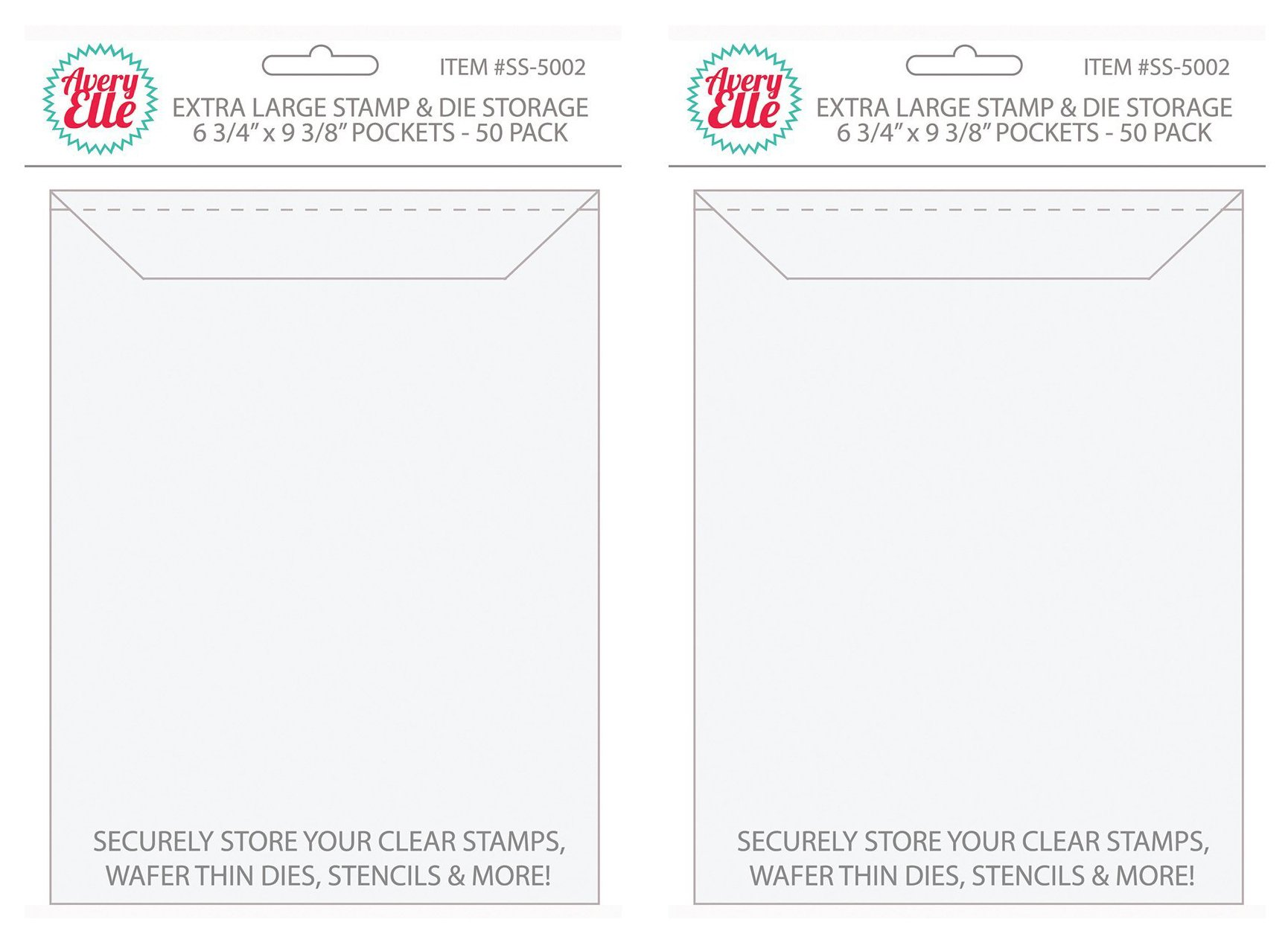 Avery Elle Stamp and Die Extra Large Storage Pockets SS-5002 (Pack of 2)