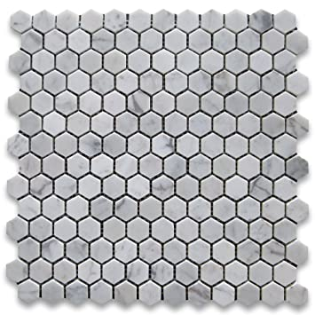 Bianco White Carrara Marble Hexagon 1 Quot Polished Mosaic Tile