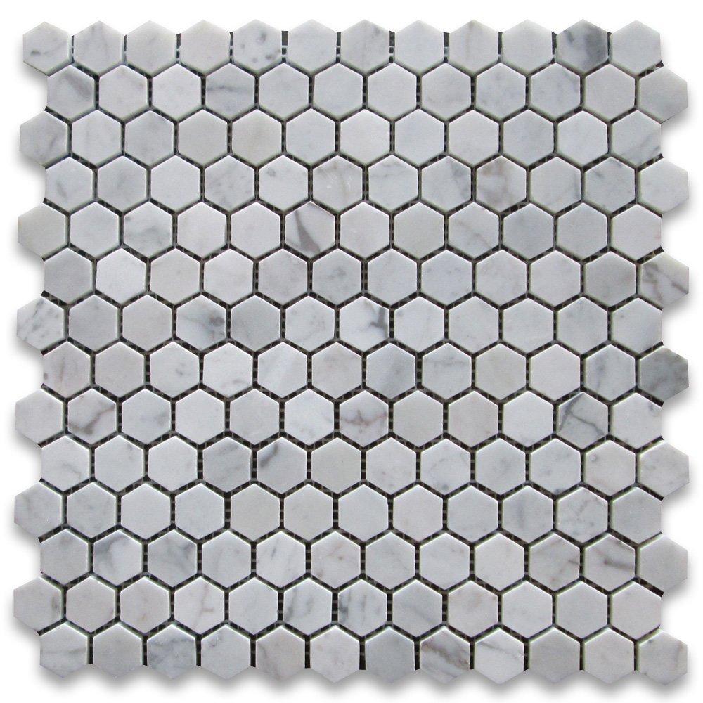 Carrara White (Bianco Carrera) 1'' Hexagon Mosaic Tile Polished - Marble from Italy