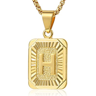 Davieslee initial letter a pendant necklace for women mens chain davieslee initial letter a pendant necklace for women mens chain gold plated square box link 22inch aloadofball Image collections