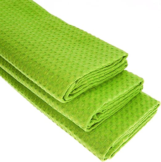 3 x Paños de algodón 100% Suela de pique en color verde claro ...