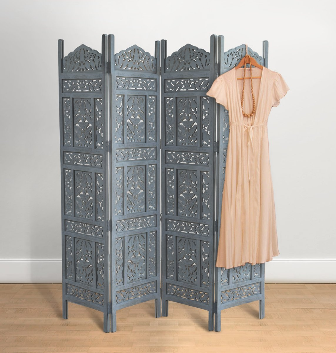 Hand Carved Gray Wooden Screen Room Divider 4 Panel 72 X 80'' Fully Reversible Highly Versatile Hides Clutter Durable Folding Partition for Bedroom Living Room Home Decor