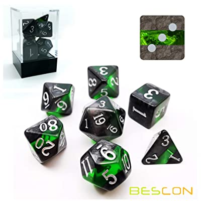 Bescon Mineral Rocks GEM Vines Polyhedral D&D Dice Set of 7, RPG Role Playing Game Dice 7pcs Set of Emerald: Toys & Games