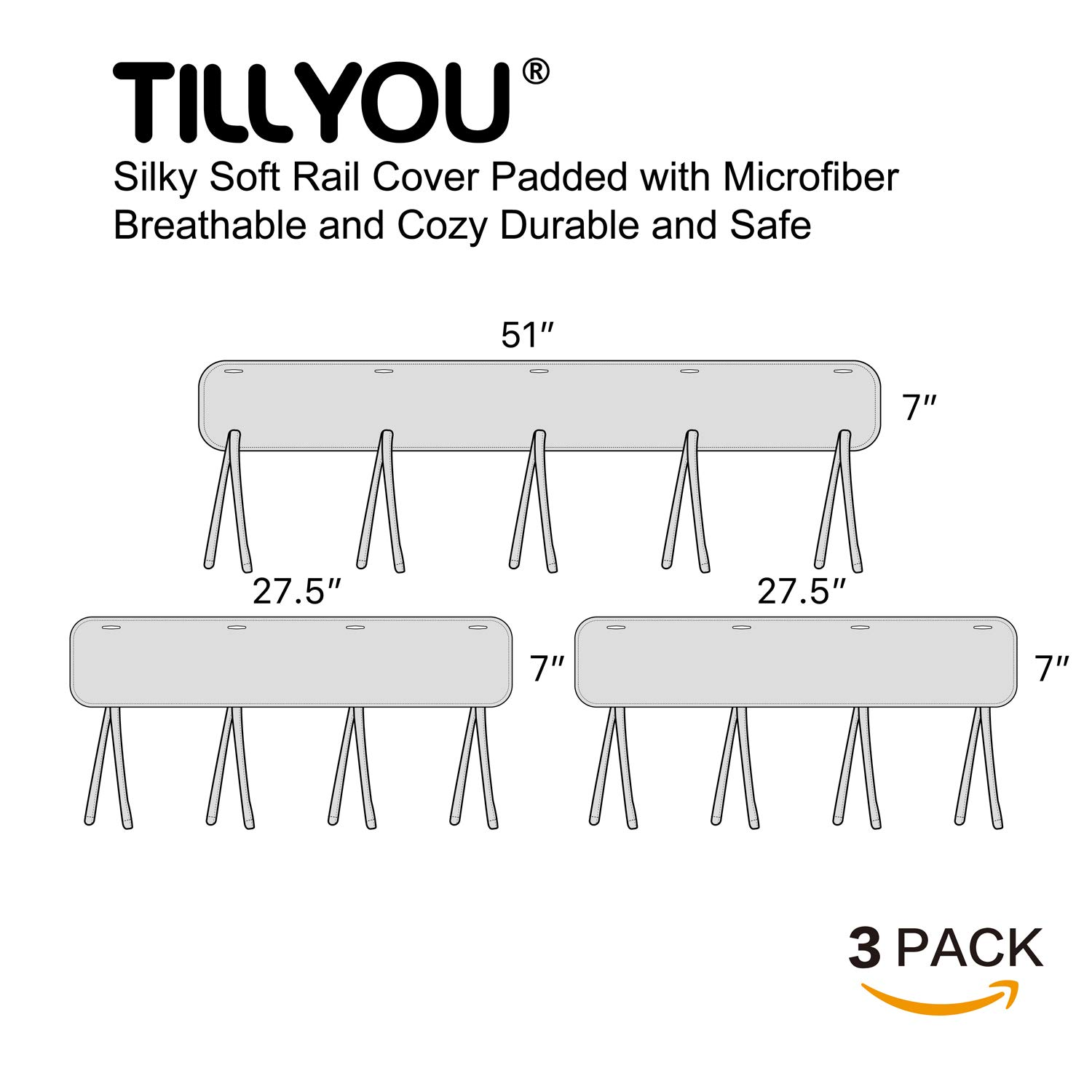 TILLYOU 3-Piece Padded Baby Crib Rail Cover Protector Set from Chewing, Safe Teething Guard Wrap for Standard Cribs, 100% Silky Soft Microfiber Polyester, Fits Side and Front Rails, Pale Gray by TILLYOU (Image #7)