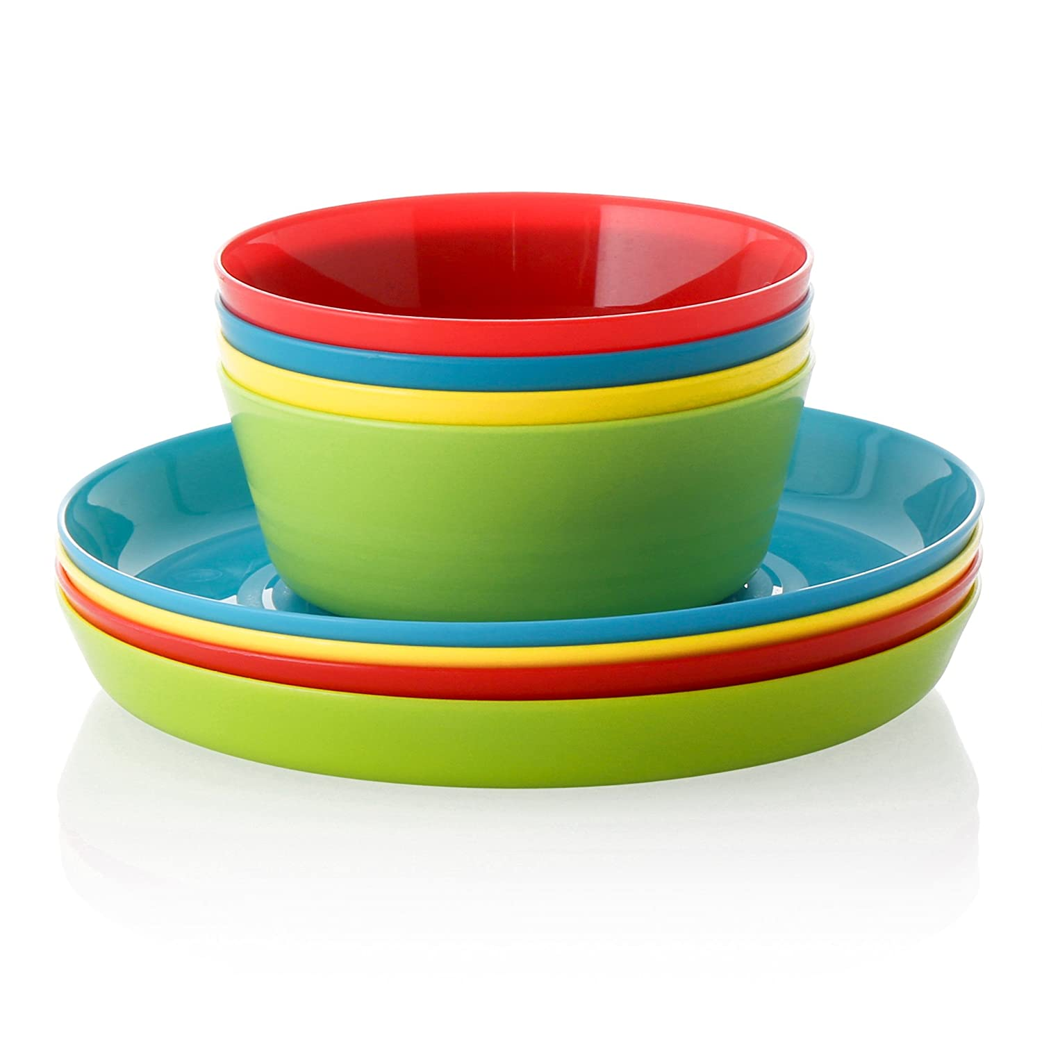 16 Piece Kids Eating Ware Set - 8 Plates and 8 Bowls in Fun Bright Colors for Toddlers and Kids - BPA Free Food Safe Material
