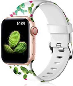 Easuny Floral Band Compatible with Apple Watch SE 40mm 38mm Women - Floral Soft Pattern Printed Cute Fadeless Silicone Replacement Wristband for iWatch Series 6 5 4 3 2 1 Girls,Cactus,S/M