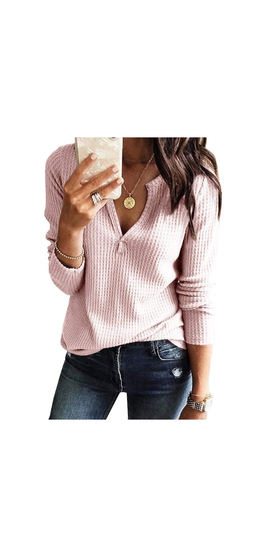 Womens V Neck Shirts Long Sleeve Waffle Knit Loose Fitting Warm