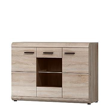 Kommode Sideboard LINK, 3 Türen (Sonoma Eiche): Amazon.de: Küche ...