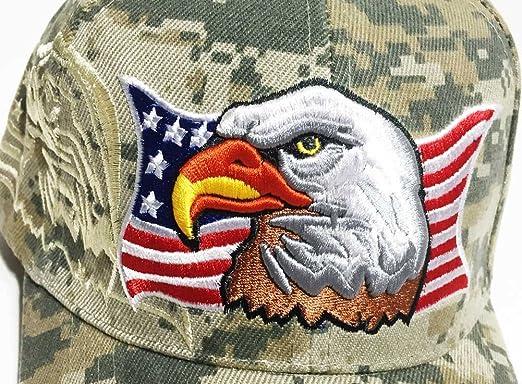 a9efa0dc98876 Amazon.com  Aesthetinc Patriotic USA American Eagle American Flag Baseball  Cap Embroidered (Army Digital Camo)  Clothing