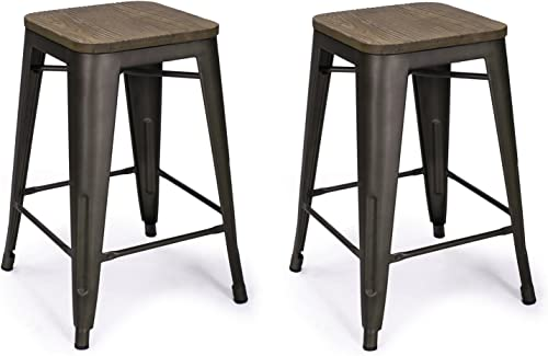 Adeco 24-inch Metal Counter Stool