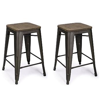 Adeco 24u0026quot; Metal Counter Stools Vintage Wood Seat Top Chair black Bronze (  sc 1 st  Amazon.com & Amazon.com: Adeco 24