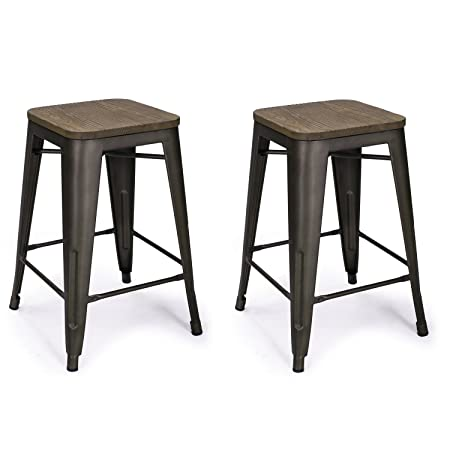 Adeco 24 Metal Counter Stools, Vintage Wood Seat Top Chair, Black Bronze Set of Two , Brown