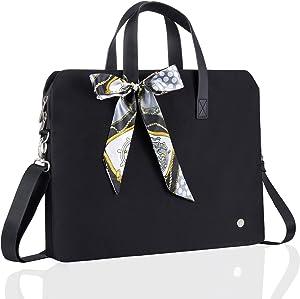 Kamlui Computer Bag Laptop Bag for Women Laptop Case Shoulder Messenger Leather Tote Business Office Briefcase Large Capacity Bag,for MacBook Pro Air iPod Lenov Samsung Dell HP ASUS 15.6 inch (Black)