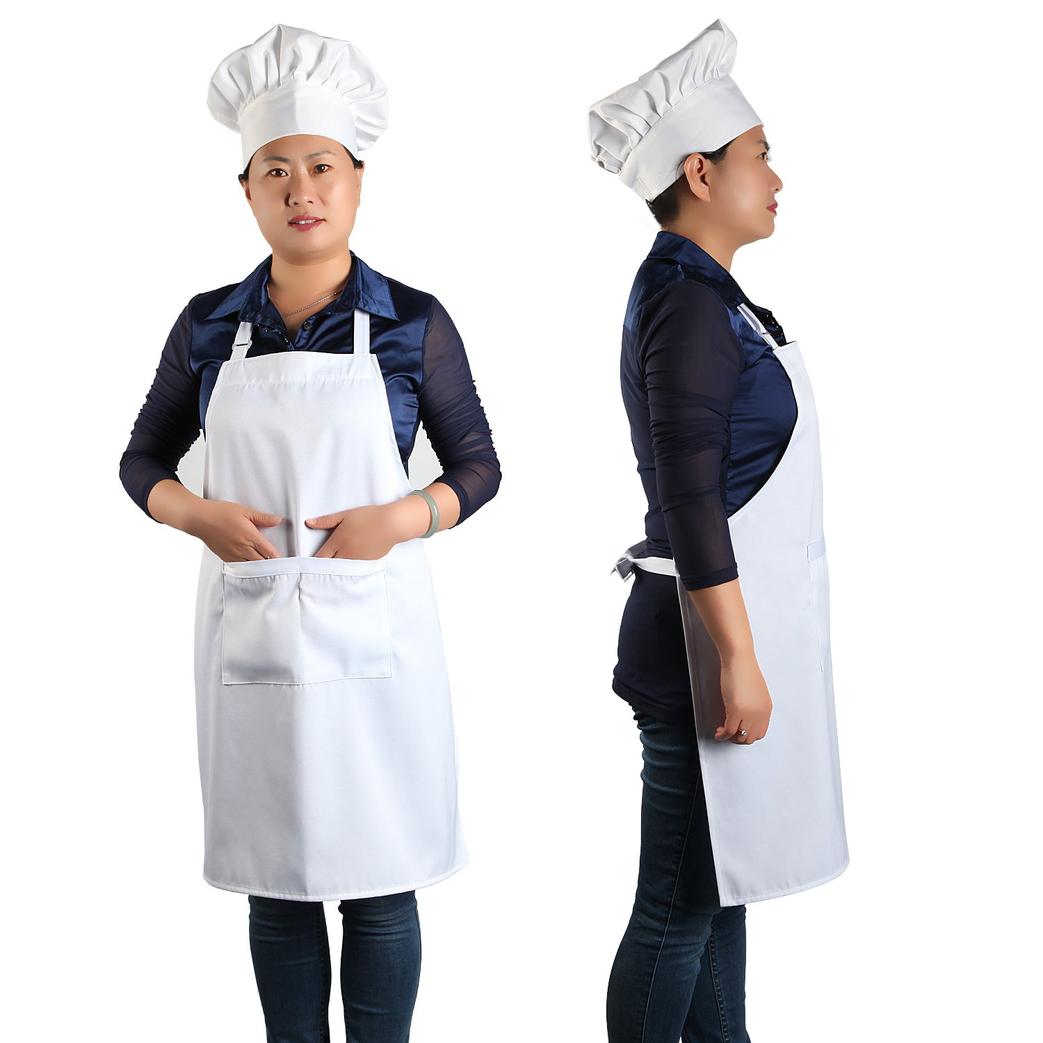 Chef Apron Set, Chef Hat and Kitchen Apron Adult Adjustable White Apron with Butcher Hat Baker Costume Kitchen Pocket Apron for Men & Women, 1 Set White by yotache (Image #2)