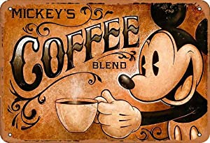 Keely Mickey's Coffee Blend Metal Vintage Tin Sign Wall Decoration 12x8 inches for Cafe Coffee Bars Restaurants Pubs Man Cave Decorative
