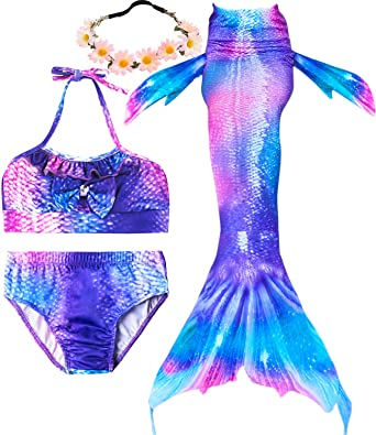 Garlagy 3 Pcs Girls Swimsuit Mermaid Tails for Swimming Princess Bikini Bathing  Suit Set Can Add 812730c1fc