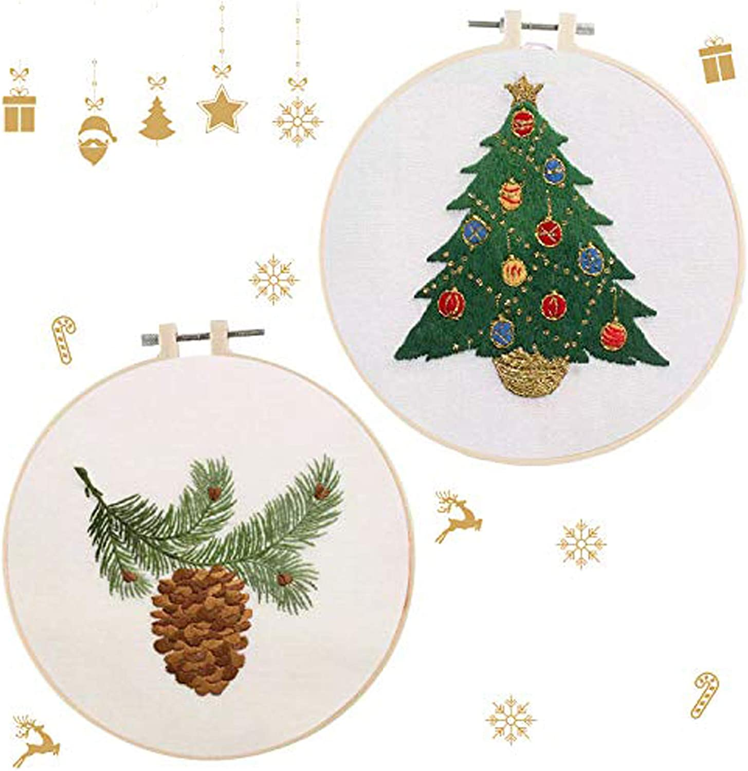Christmas Embroidery Kit with Enough Tools to Make in English Manual