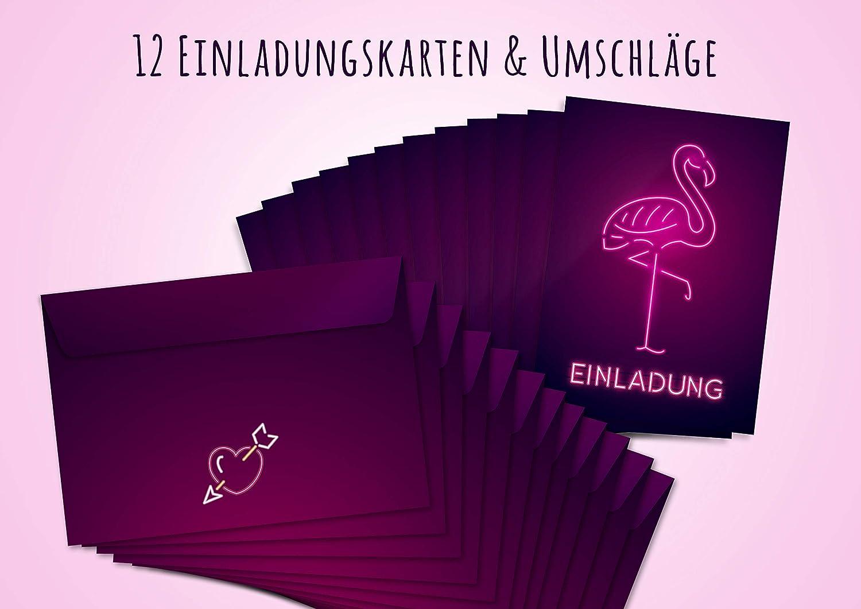 12 Einladungskarten Flamingo zum Geburtstag Friendly Fox Flamingo Einladung
