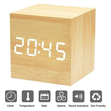 Shareus Alarm Clock Rechargeable with Sound Control, Digital Clock with 4 Levels Brightness, Electronic