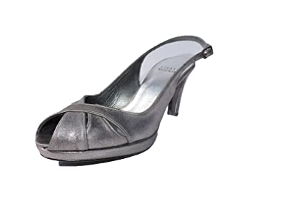 92181eb6526d3 Image Unavailable. Image not available for. Color  Stuart Weitzman Womens  Peekapoo Pewter Silver 3.5 quot  Heel Sandals ...