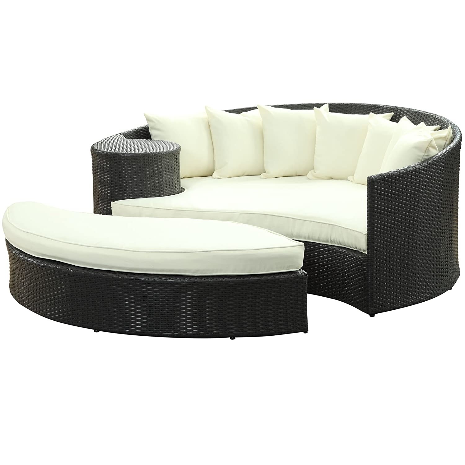 Amazon.com : LexMod Taiji Outdoor Patio Daybed In Espresso White : Patio  Sofas : Patio, Lawn U0026 Garden