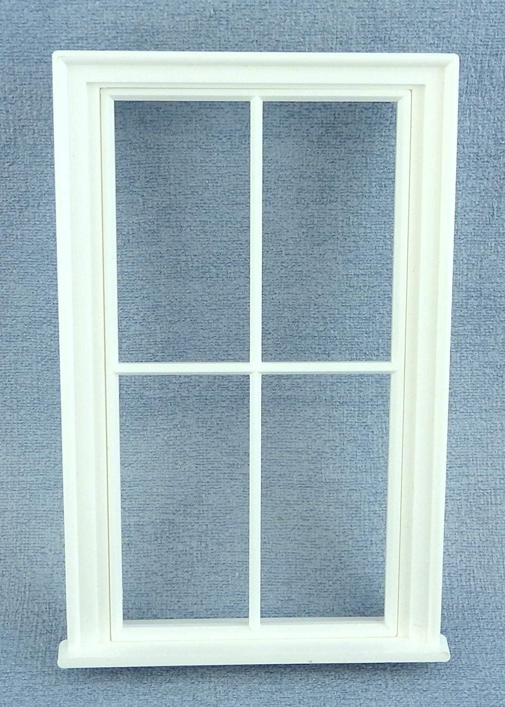 Melody Jane Dolls Houses Miniature White Plastic Victorian Window Frame 4 Pane DIY Builders