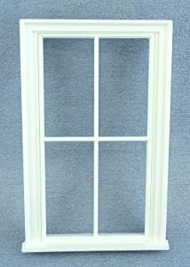 Melody Jane Dolls Houses Miniature White Plastic Victorian Window Frame 4 Pane DIY Builders