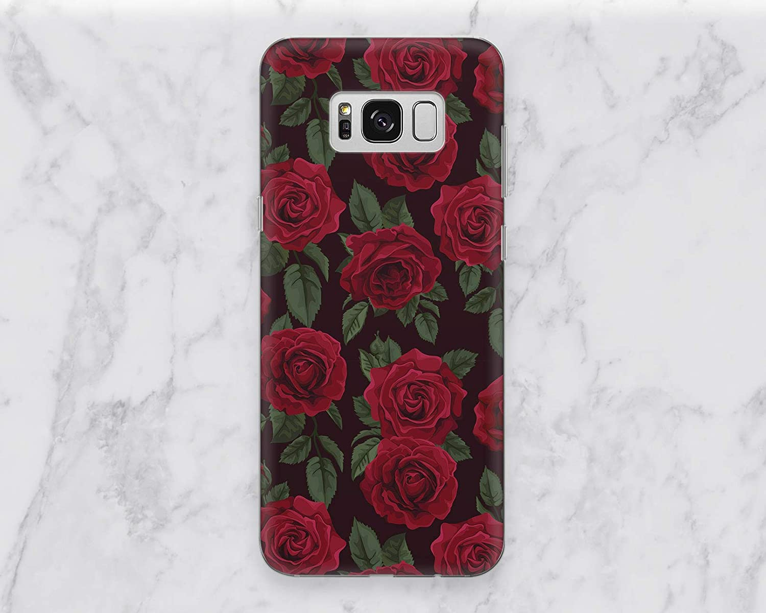 Burgundy Red Rose Pattern Back Cover Case For Phone Samsung Galaxy Note 8 9 S6 S7 S8 S9 S10 S10e Edge Plus Google Pixel 2 3 XL