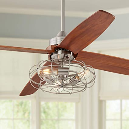 52 Farmhouse Ceiling Fan With Light Led Vintage Cage Brushed Nickel Walnut Wood Blades For Living Room Kitchen Bedroom Dining Casa Vieja