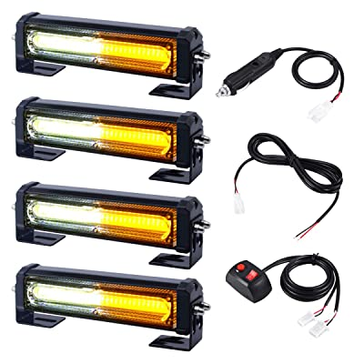 12V 24V Grill and Surface/Flush Mount Amber White LED Strobe Lights for Trucks Snow Plow Tractor Construction Vehicles Car Safety Flashing, WOWTOU 4 in 1 Hazard Warning Caution Emergency Flasher: Automotive