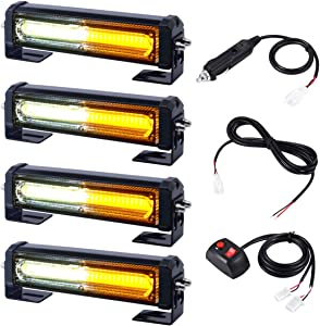12V 24V Grill and Surface/Flush Mount Amber White LED Strobe Lights for Trucks Snow Plow Tractor Construction Vehicles Car Safety Flashing, WOWTOU 4 in 1 Hazard Warning Caution Emergency Flasher