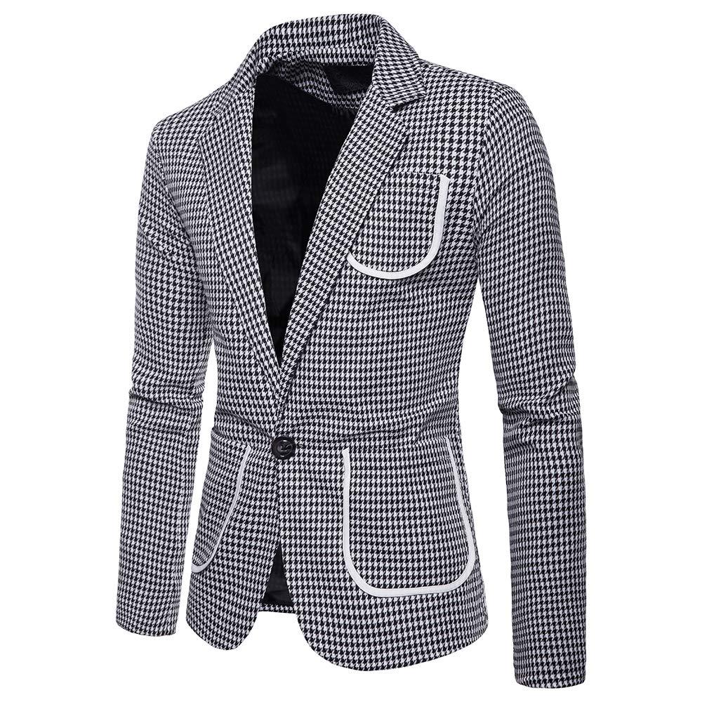 Dihope Homme Costume Ensemble 2 Pièces Veste à Carreaux Slim Fit Blazer Un  Bouton Pantalon pour ... fef87ac7578