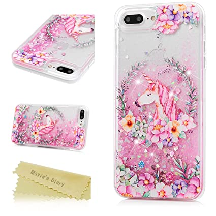 new style 88986 3dce0 iPhone 7 Plus Case, iPhone 8 Plus Case, Mavis's Diary Bling Glitter Sparkle  Flowing Liquid Quicksand Moving Sequins Painted Flower Protective Hard PC  ...