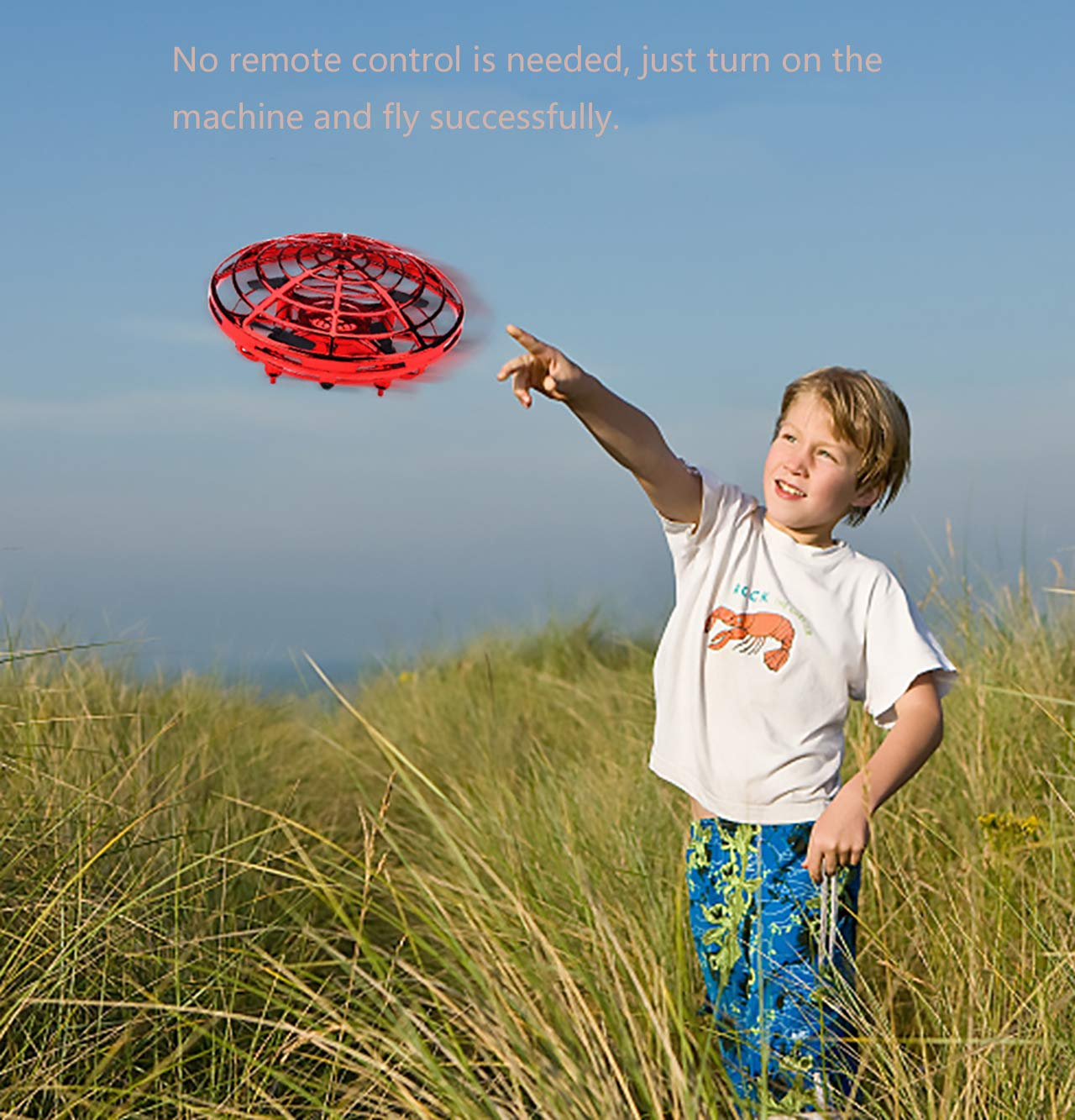MuD-A Flying Ball Toy Drones,Hand Operated Drones for Kids or Adults - Scoot Flying Ball Drone,with 360°Rotating and Flashing LED Lights Mini Drone,for Boys and Girls, Kids Gifts (Red) by MuD-A (Image #7)