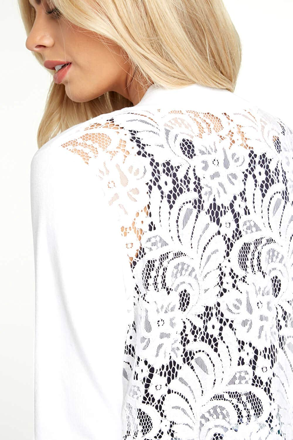 Ladies Evening 3//4 Length Sleeve Cardigans Bolero Special Occasion Smart Formal Casual Cropped Cover Up Boleros Shrugs Clothing Roman Originals Women Lace Back Detail Shrug