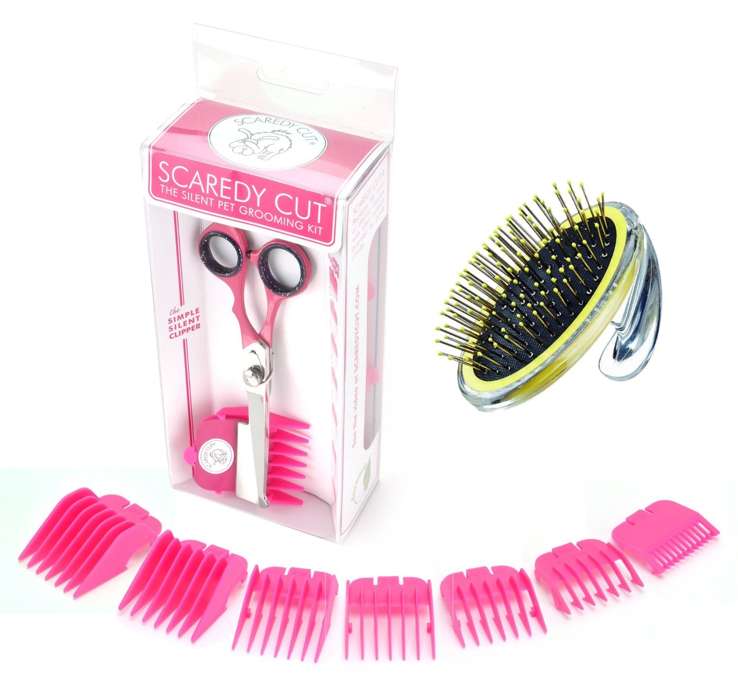 Scaredy Cut Silent Pet Clipper with Conair PRODogs Pet-It Metal Pin Brush for Dogs