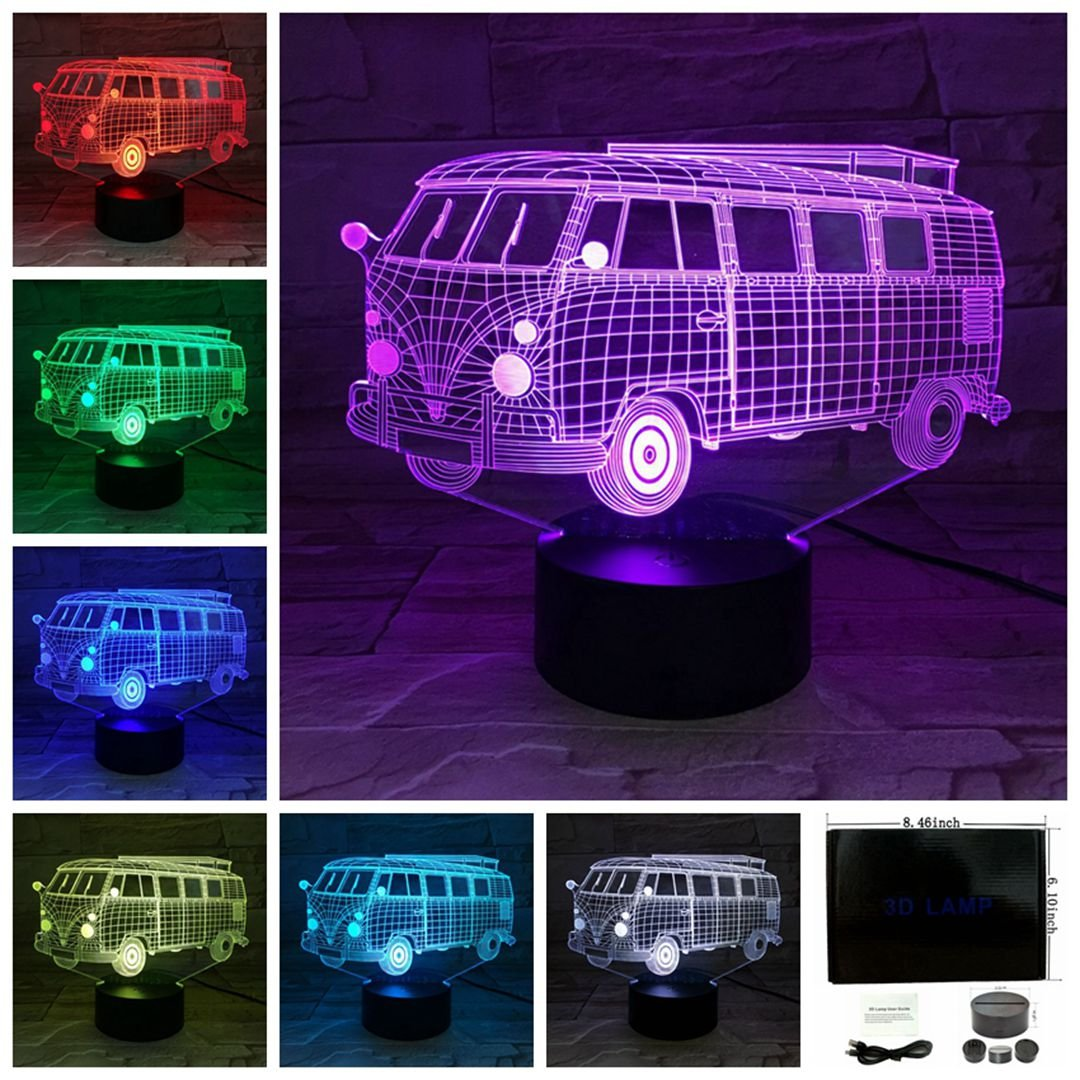 3D Buses Shape Lamp Optical Illusion Night Light for Room Decor Baby Nursery Cool Gifts for Kids Boys Sports Guy 7 Color Changing Toys