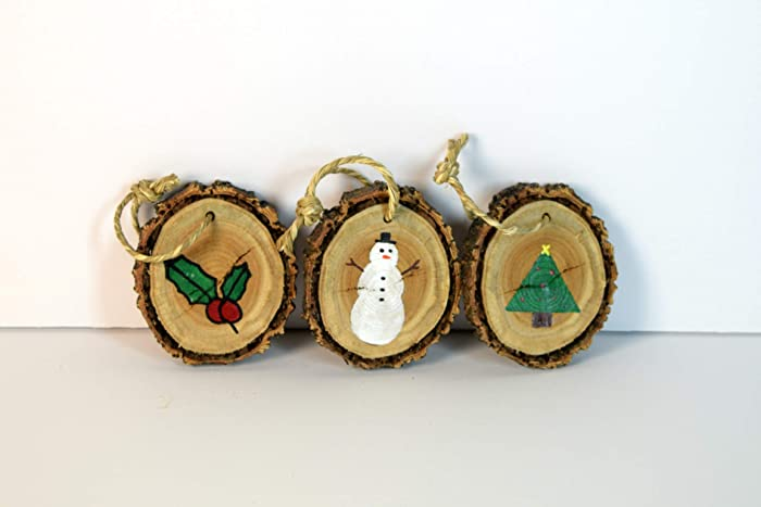 Amazon Com Wood Slice Christmas Tree Ornaments Set Of 3