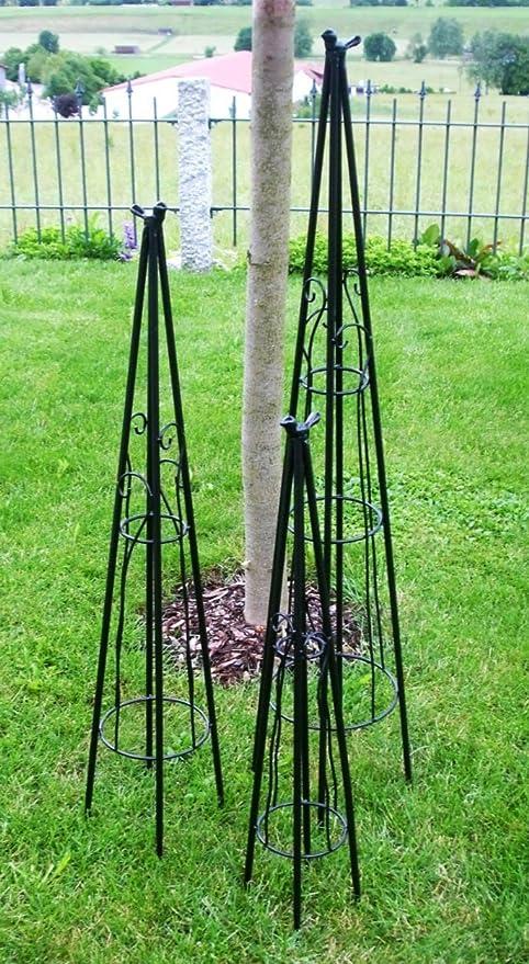 Pérgola enrejado piramidal metal negro con pájaro 3 unidades Altura 78/99/120 cm: Amazon.es: Jardín