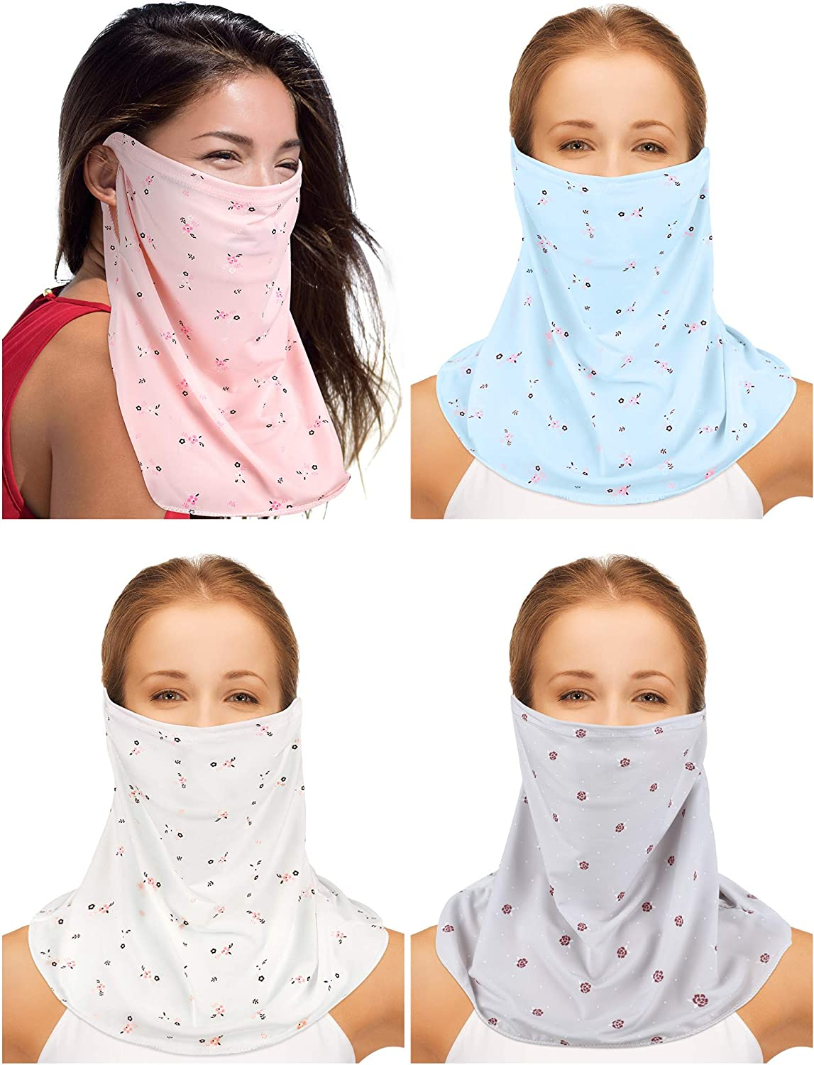 Sun Protection Face Cover Breathable Ear Loops Face Cover Neck Gaiter Scarf UV Protection Bandana (White, Pink, Light Blue and Gray, 4 Pieces)