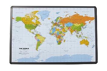 Amazon political world map on cork pinboard 24 x 36 with political world map on cork pinboard 24quot x 36 with aluminum frame gumiabroncs Images