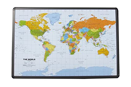 Amazon political world map on cork pinboard 24 x 36 with political world map on cork pinboard 24quot x 36 with aluminum frame gumiabroncs Images