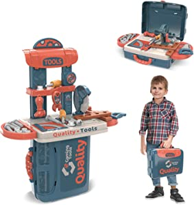 allcaca 34 Pieces Toy Tool Construction Set - Toddler Boys Pretend Play Tool, Kit Playset Including Construction Suitcase, toy Drill, Hand Saw, Wrench Construction Tool Accessories in Workshop Storage