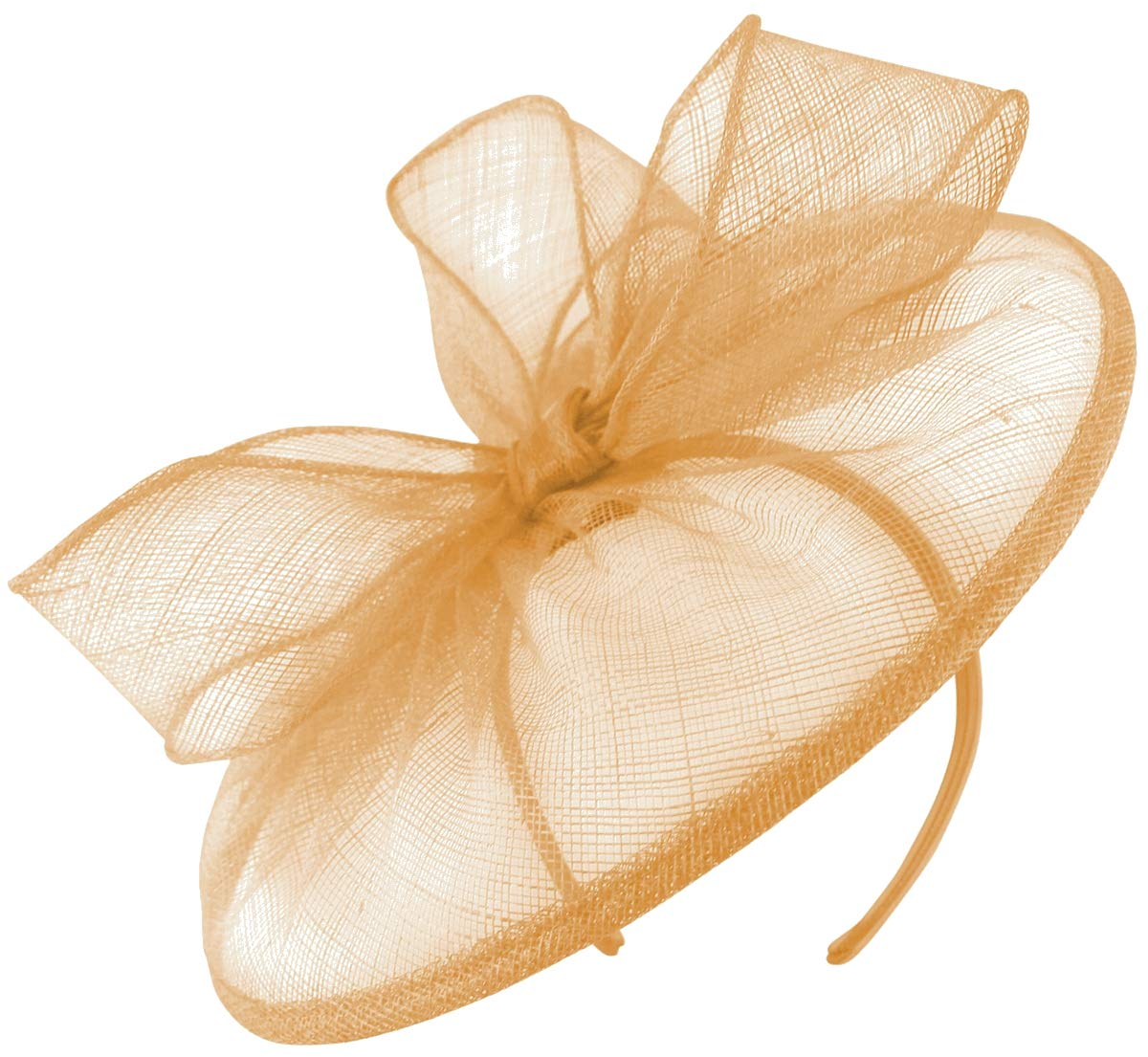 Failsworth Millinery Sinamay Disc in Apricot, Size: One Size