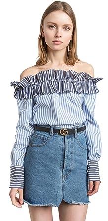 0e650bee64f Sexy Off The Shoulder Ruffle Hem Long Sleeve Striped Stripe Blouse Shirt  Top Blue S