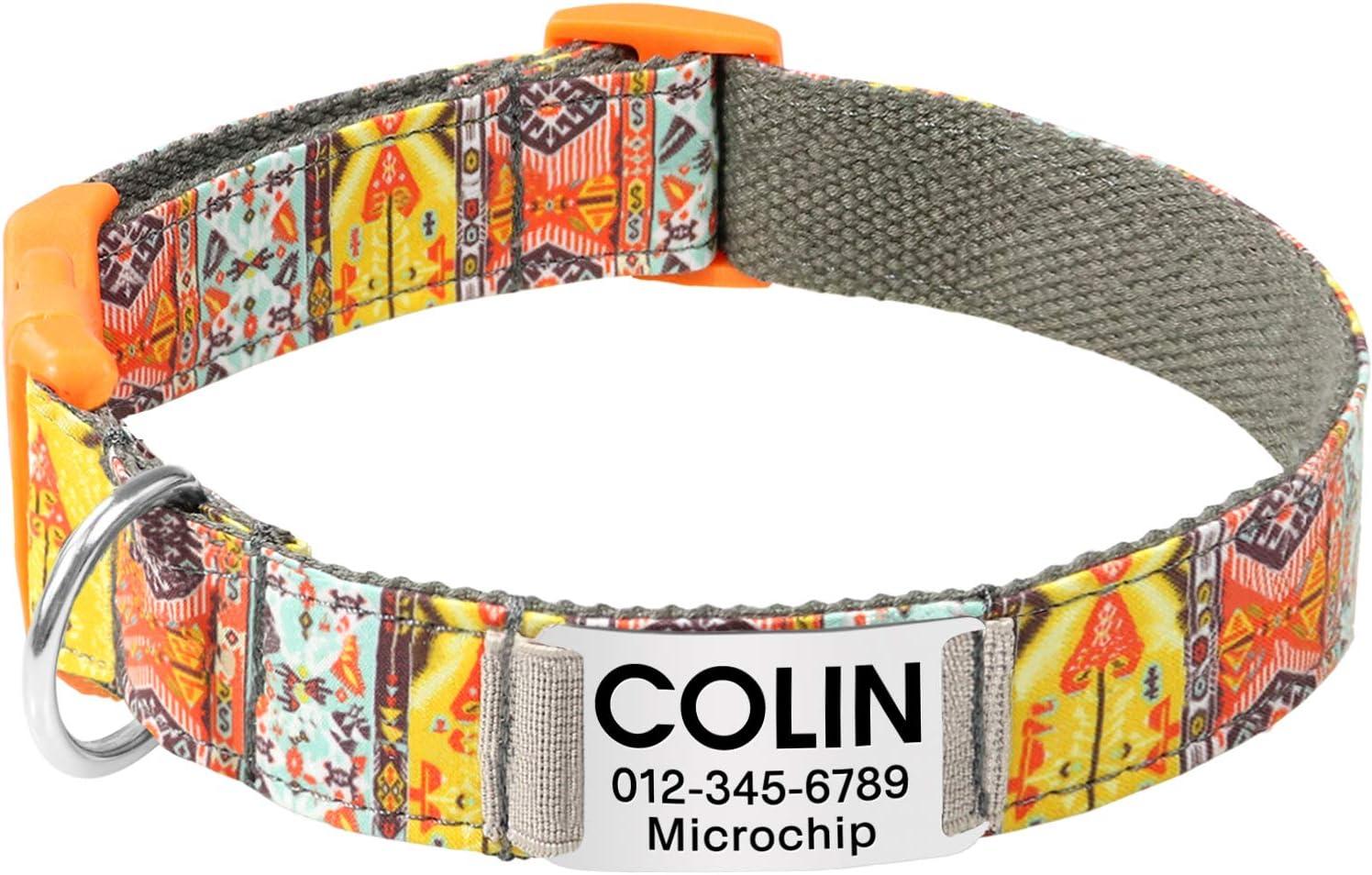 Vcalabashor Collar de Perro Personalizado, Placa de Acero Inoxidable grabada con Nombre y Número de Teléfono del Perro,Caqui Medio