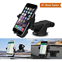 BOKA® Car Mobile Phone Holder - Telescopic One Touch Long Neck Arm 360 Degree Rotation with Ultimate Reusable Suction Cup Mount for Car Dashboard/Windshield/Desktop (Black)