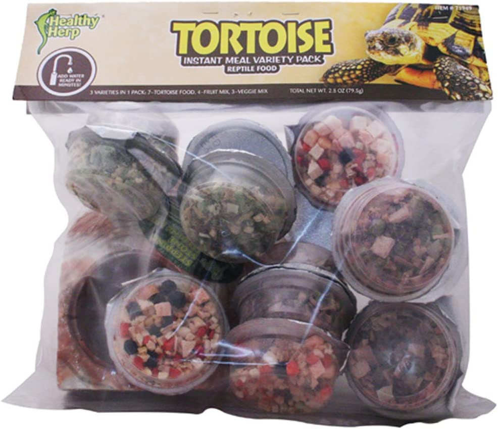 Healthy Herp Instant Meal Tortoise Food Variety Pack (7 x Tortoise Food, 4 x Fruit Mix, 3 x Vegi Mix, and 1 X Feeding Dish)