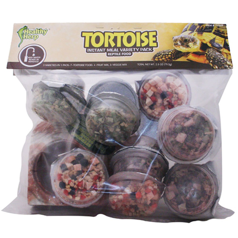 Healthy Herp Instant Meal Tortoise Food Variety Pack (7 x Tortoise Food, 4 x Fruit Mix, 3 x Vegi Mix, and 1 X Feeding Dish) by Healthy Herp